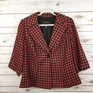 Lane Bryant houndstooth one button blazer red XL